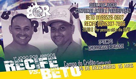 É amanhã, o 1º Jogo dos Amigos Recife x Beto, no Santa Cruz, em Salto